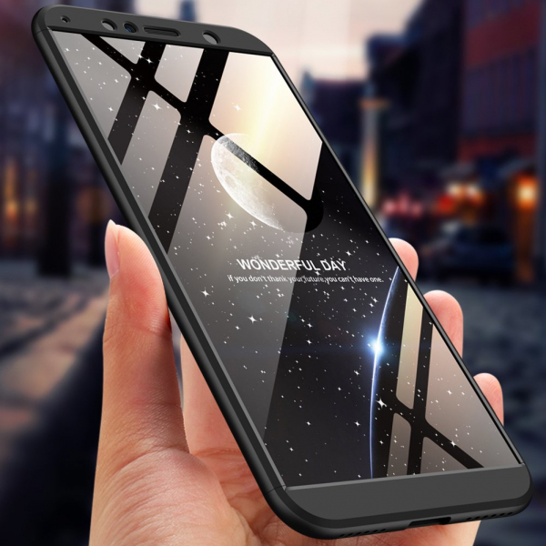 Husa Full Cover 360 + folie sticla pentru Huawei Honor View 10, Negru 1