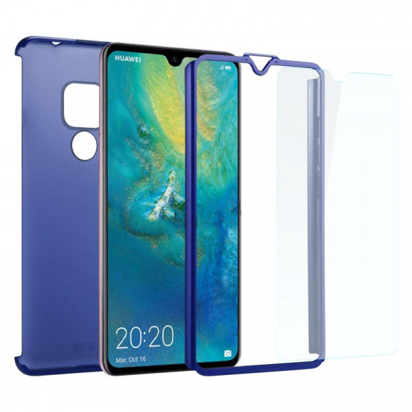 Husa Full Cover 360 + folie sticla pentru Huawei Mate 20, Albastru 1