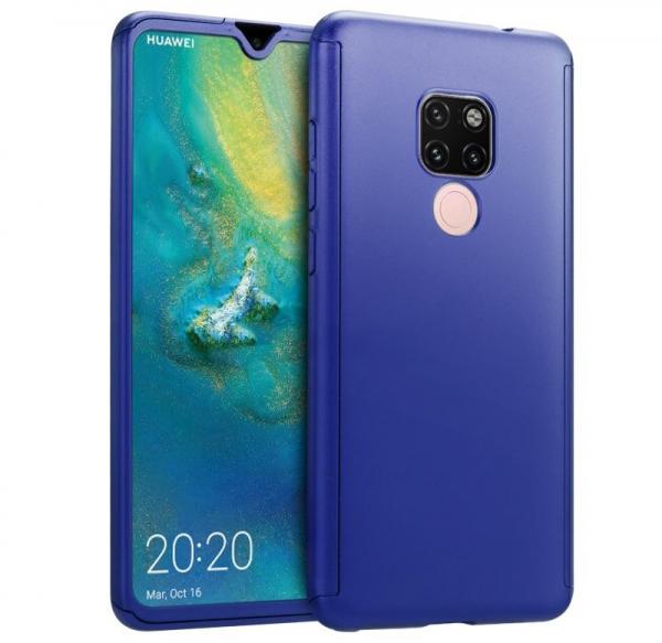 Husa Full Cover 360 + folie sticla pentru Huawei Mate 20, Albastru 0
