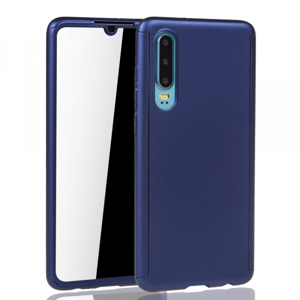 Husa Full Cover 360 + folie sticla pentru Huawei P30, Albastru 1