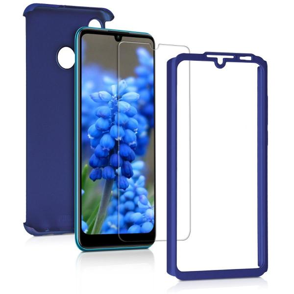 Husa Full Cover 360 + folie sticla pentru Huawei P30 Lite, Albastru 1