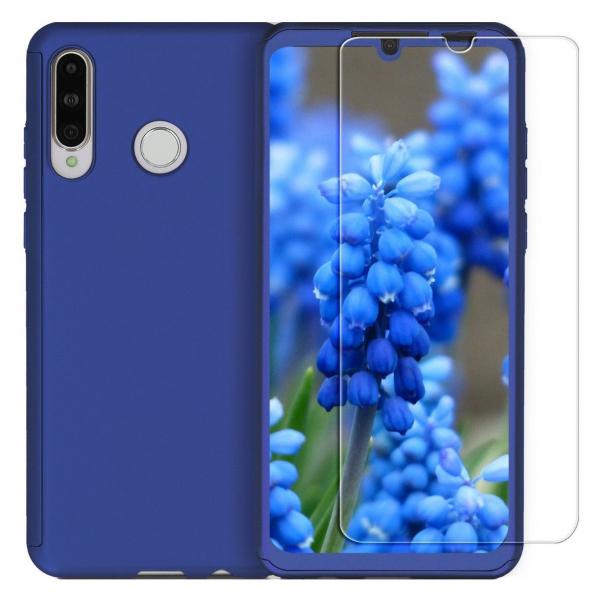 Husa Full Cover 360 + folie sticla pentru Huawei P30 Lite, Albastru 0