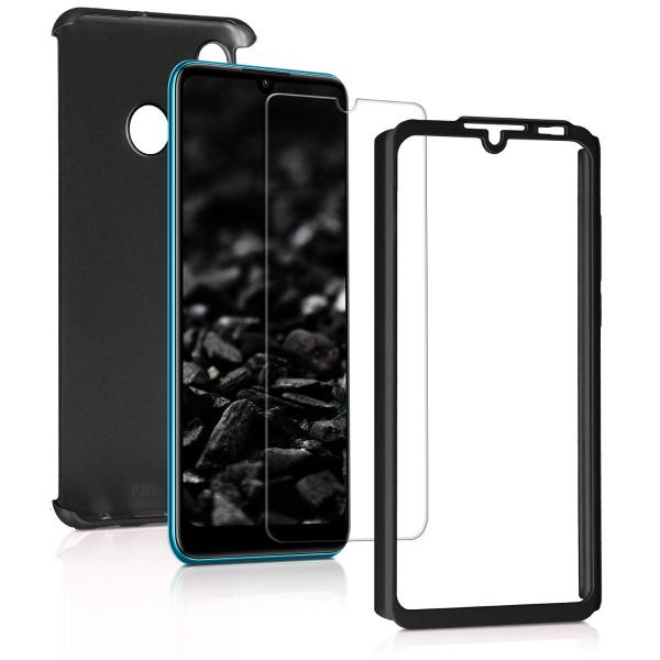 Husa Full Cover 360 + folie sticla pentru Huawei P30 Lite, Negru 1