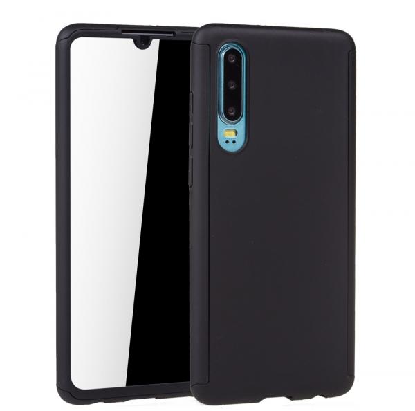 Husa Full Cover 360 + folie sticla pentru Huawei P30, Negru 1