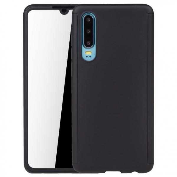 Husa Full Cover 360 + folie sticla pentru Huawei P30, Negru 0