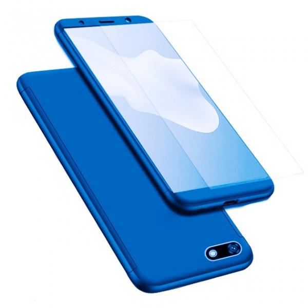 Husa Full Cover 360 + folie sticla pentru Huawei Y5 (2018), Albastru 0