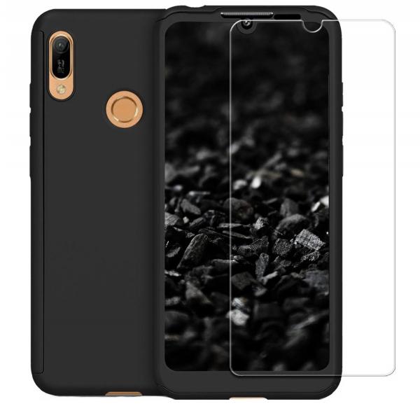 Husa Full Cover 360 + folie sticla pentru Huawei Y6 2019, Negru 0