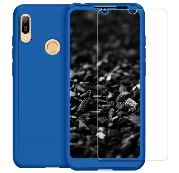Husa Full Cover 360 + folie sticla pentru Huawei Y7 2019, Albastru 0