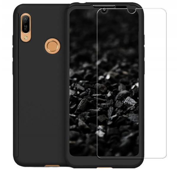 Husa Full Cover 360 + folie sticla pentru Huawei Y7 2019, Negru 0