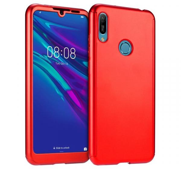 Husa Full Cover 360 + folie sticla pentru Huawei Y7 2019, Red 0