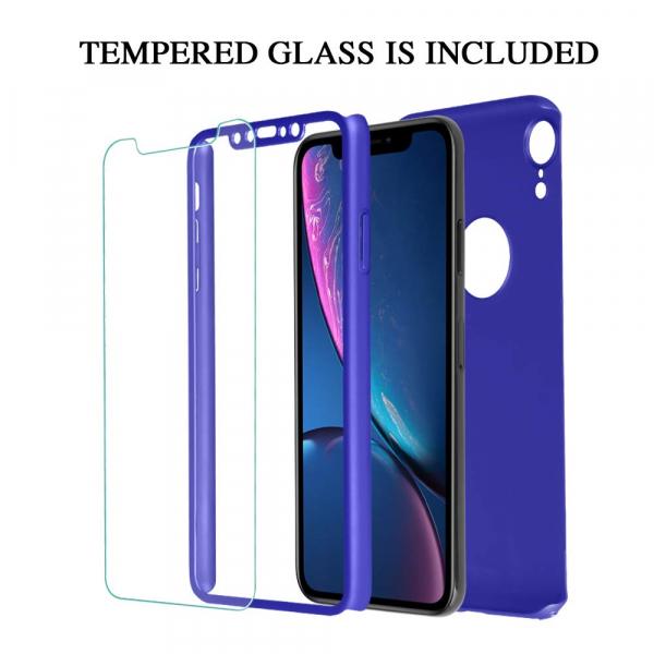 Husa Full Cover 360 + folie sticla pentru iPhone XR, Albastru 1