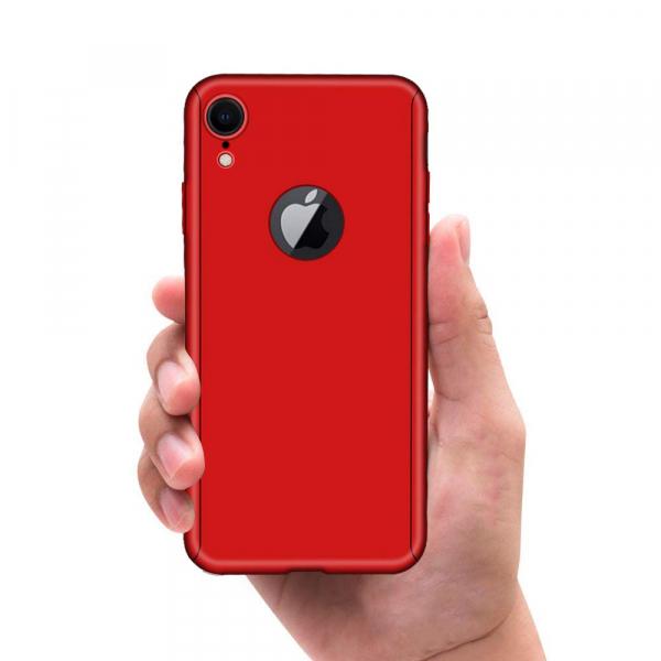 Husa Full Cover 360 + folie sticla pentru iPhone XR, Red 3