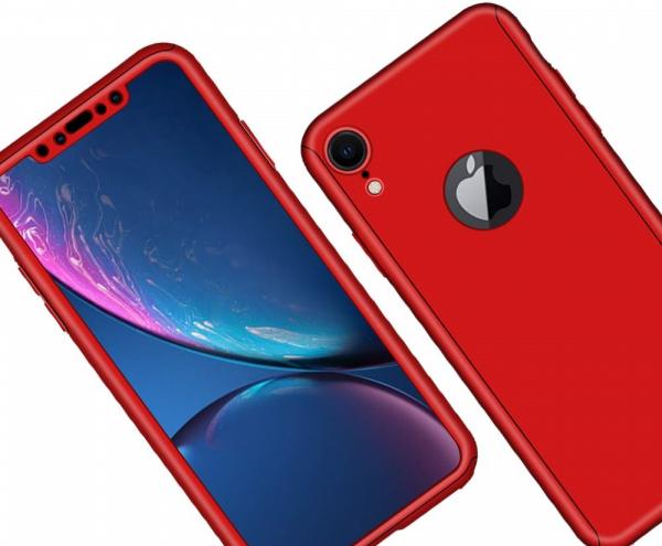 Husa Full Cover 360 + folie sticla pentru iPhone XR, Red 2