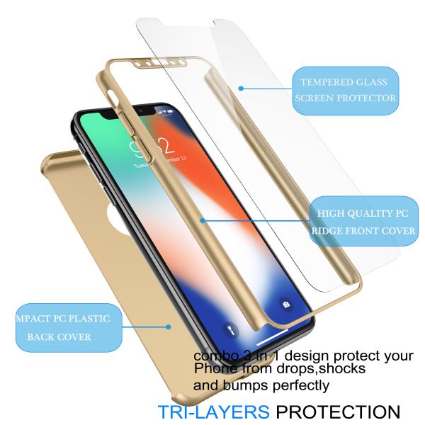 Husa Full Cover 360 + folie sticla pentru iPhone XS, Gold 3