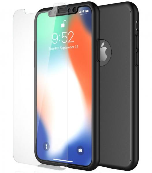 Husa Full Cover 360 + folie sticla pentru iPhone XS, Negru [0]