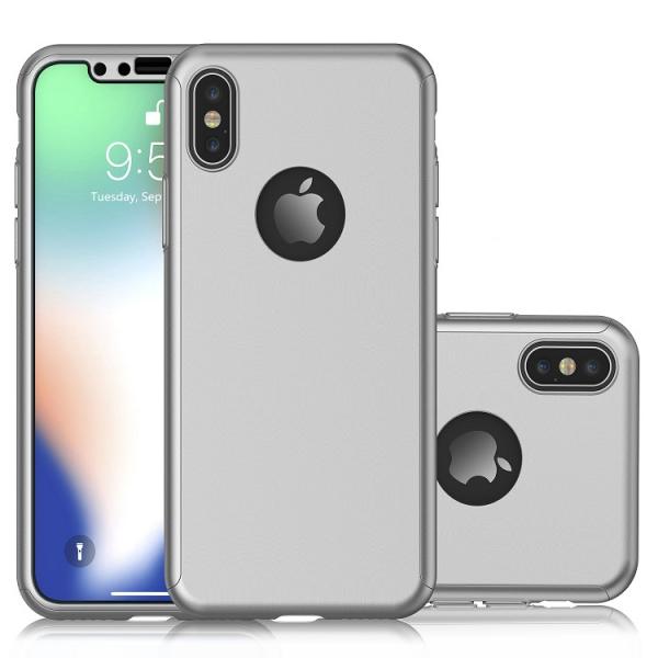 Husa Full Cover 360 + folie sticla pentru iPhone XS, Silver 1
