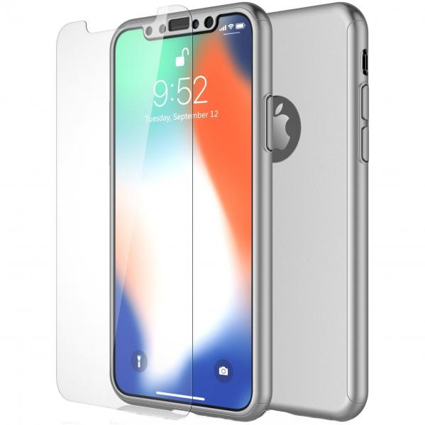 Husa Full Cover 360 + folie sticla pentru iPhone XS, Silver 0
