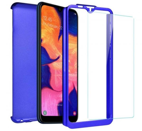 Husa Full Cover 360 + folie sticla pentru Samsung Galaxy A10, Albastru 1