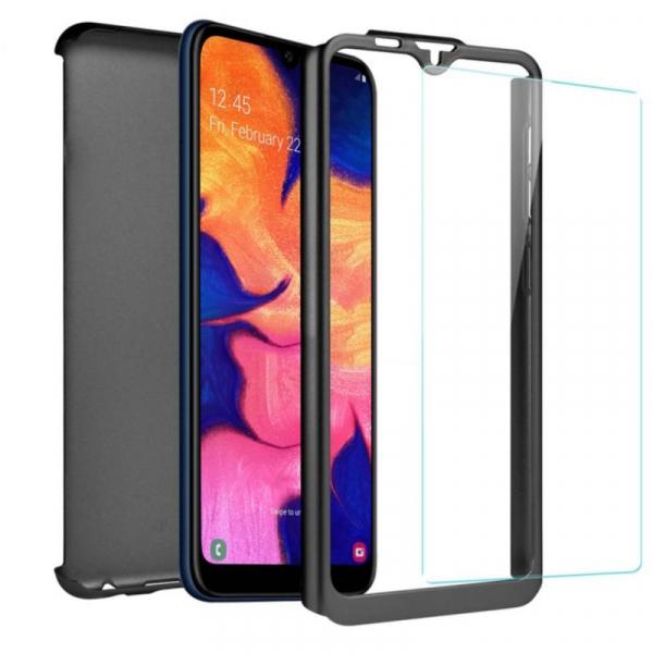 Husa Full Cover 360 + folie sticla pentru Samsung Galaxy A10, Negru 1