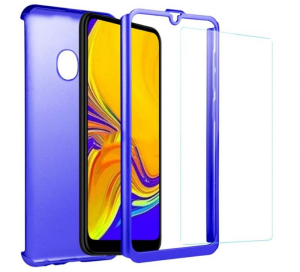 Husa Full Cover 360 + folie sticla pentru Samsung Galaxy A20e, Albastru 1