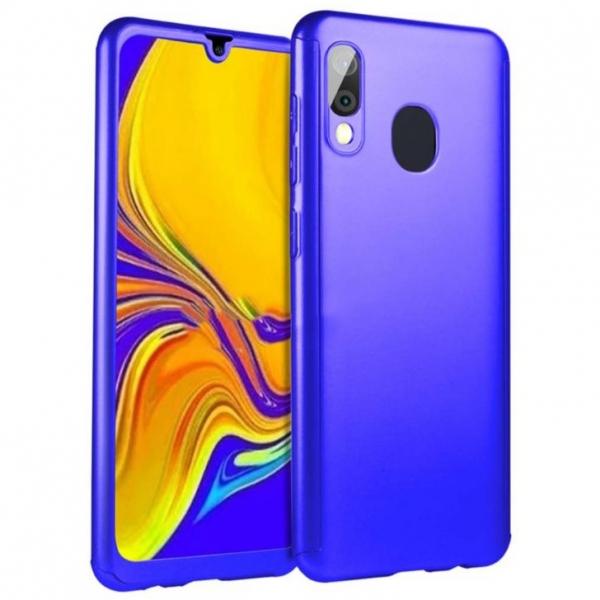 Husa Full Cover 360 + folie sticla pentru Samsung Galaxy A20e, Albastru 0