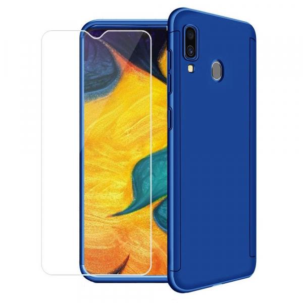 Husa Full Cover 360 + folie sticla pentru Samsung Galaxy A30, Albastru [0]