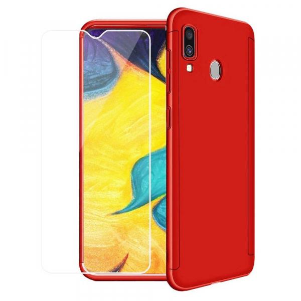 Husa Full Cover 360 + folie sticla pentru Samsung Galaxy A30, Red 0
