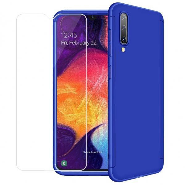 Husa Full Cover 360 + folie sticla pentru Samsung Galaxy A50, Albastru 0