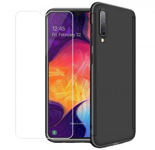 Husa Full Cover 360 + folie sticla pentru Samsung Galaxy A50, Negru 0