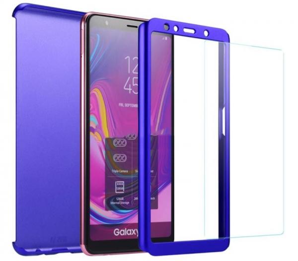 Husa Full Cover 360 + folie sticla pentru Samsung Galaxy A7 (2018), Albastru 1