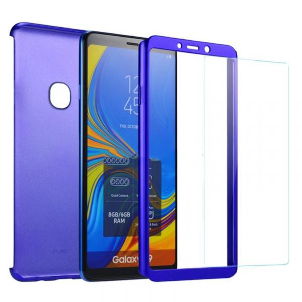 Husa Full Cover 360 + folie sticla pentru Samsung Galaxy A9 (2018), Albastru 1