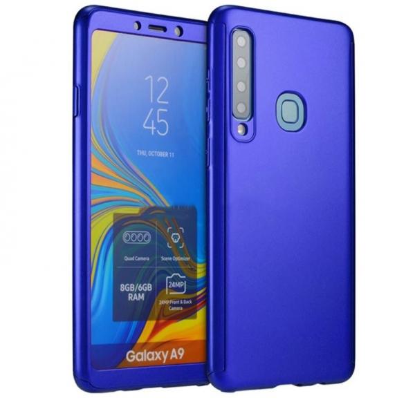 Husa Full Cover 360 + folie sticla pentru Samsung Galaxy A9 (2018), Albastru 0