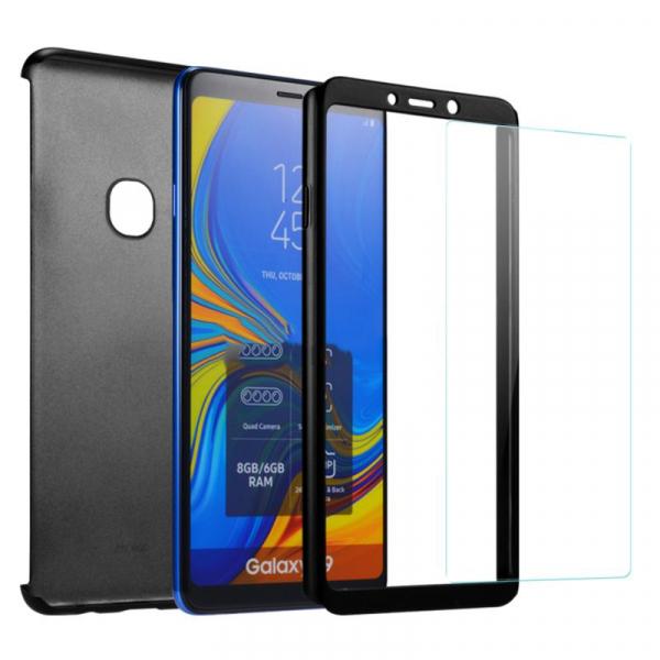 Husa Full Cover 360 + folie sticla pentru Samsung Galaxy A9 (2018), Negru 1