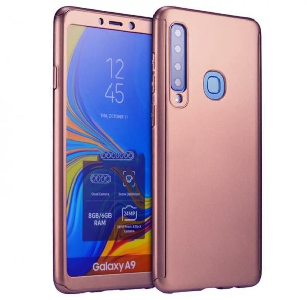 Husa Full Cover 360 + folie sticla pentru Samsung Galaxy A9 (2018), Rose Gold 0