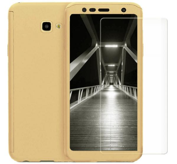 Husa Full Cover 360 + folie sticla pentru Samsung Galaxy J4 Plus (2018), Gold [0]