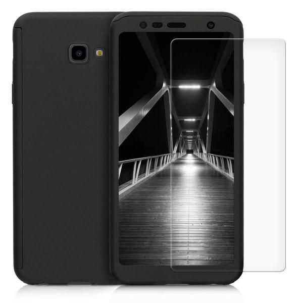 Husa Full Cover 360 + folie sticla pentru Samsung Galaxy J4 Plus (2018), Negru 0