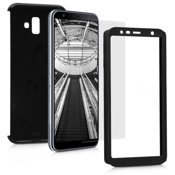 Husa Full Cover 360 + folie sticla pentru Samsung Galaxy J6 Plus (2018), Negru 1