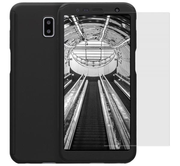 Husa Full Cover 360 + folie sticla pentru Samsung Galaxy J6 Plus (2018), Negru 0