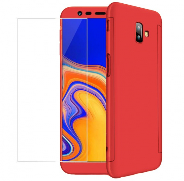 Husa Full Cover 360 + folie sticla pentru Samsung Galaxy J6 Plus (2018), Red 1
