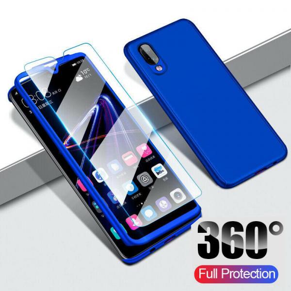 Husa Full Cover 360 + folie sticla pentru Samsung Galaxy M10, Albastru 1