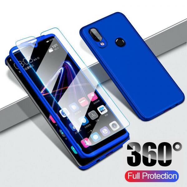Husa Full Cover 360 + folie sticla pentru Samsung Galaxy M20, Albastru 1