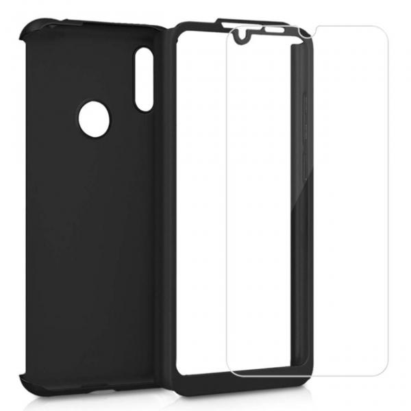 Husa Full Cover 360 + folie sticla pentru Samsung Galaxy M20, Negru 1