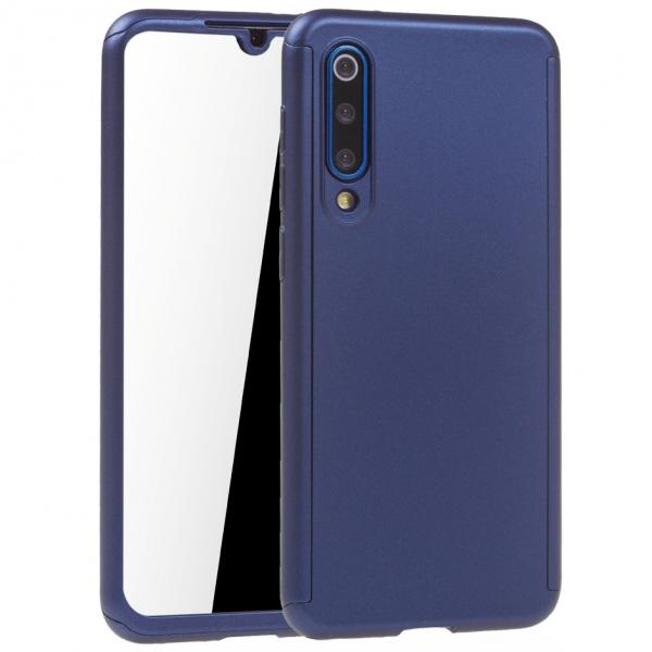Husa Full Cover 360 + folie sticla pentru Xiaomi Mi 9 SE, Albastru 0