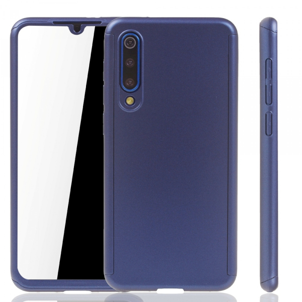 Husa Full Cover 360 + folie sticla pentru Xiaomi Mi 9 SE, Albastru 1