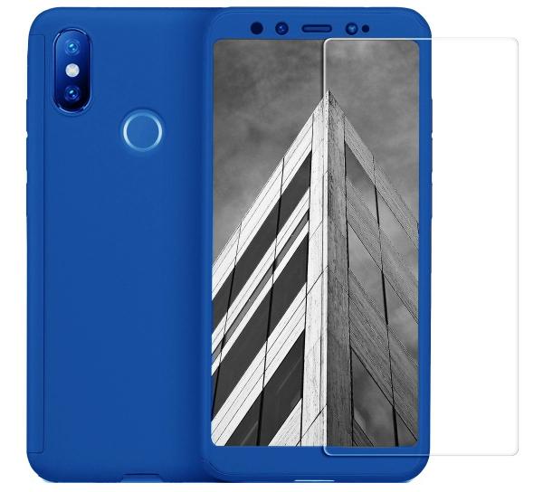 Husa Full Cover 360 + folie sticla pentru Xiaomi Mi A2, Albastru 0