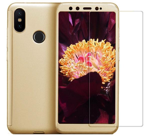 Husa Full Cover 360 + folie sticla pentru Xiaomi Mi A2, Gold 0