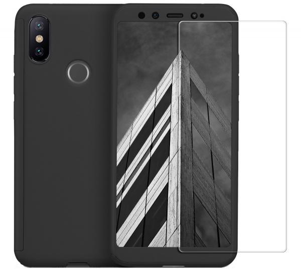 Husa Full Cover 360 + folie sticla pentru Xiaomi Mi A2, Negru 0