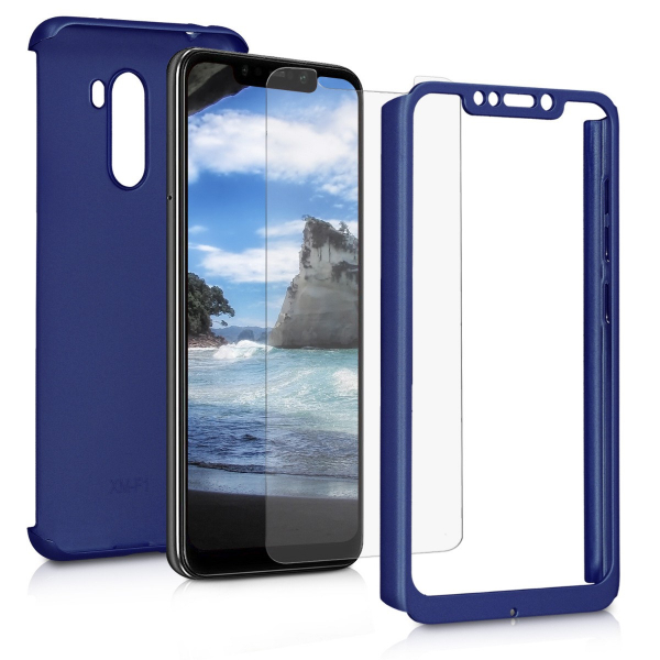 Husa Full Cover 360 + folie sticla pentru Xiaomi Pocophone F1, Albastru 1