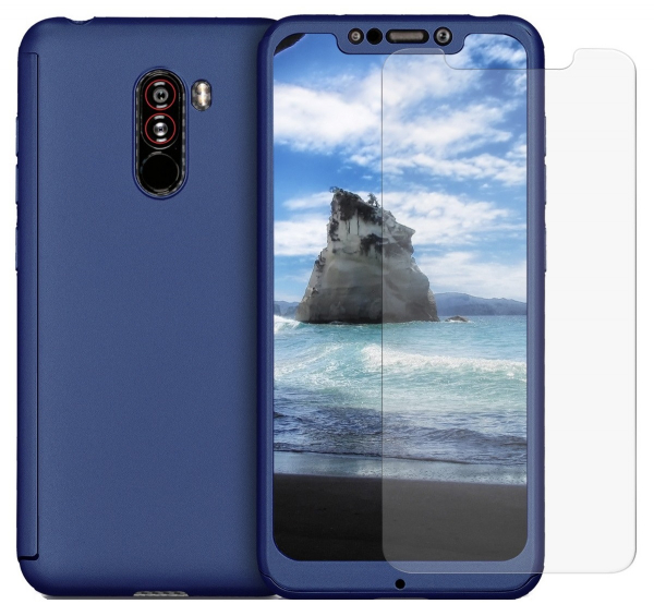 Husa Full Cover 360 + folie sticla pentru Xiaomi Pocophone F1, Albastru 0