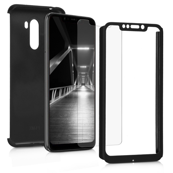 Husa Full Cover 360 + folie sticla pentru Xiaomi Pocophone F1, Negru 2
